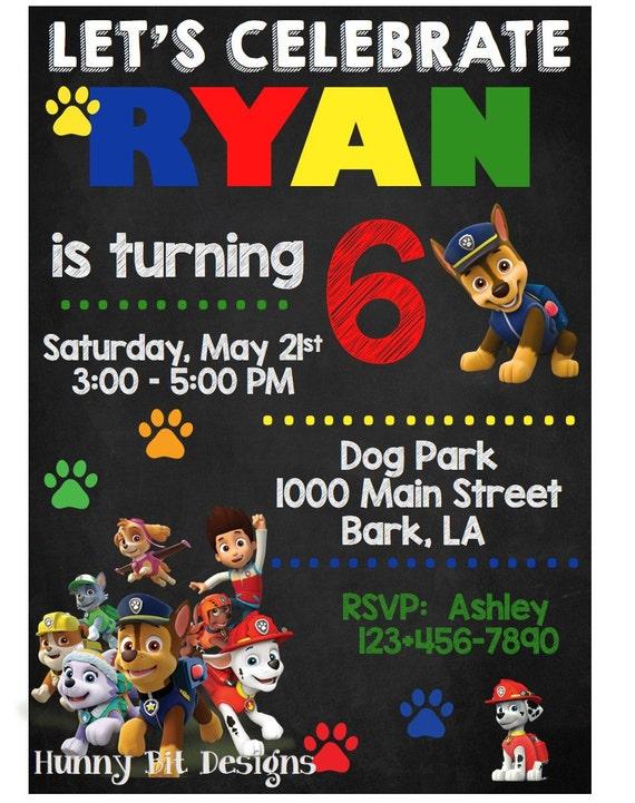 Paw Patrol Birthday Invitation Chase Marshall Ryder Rubble Skye