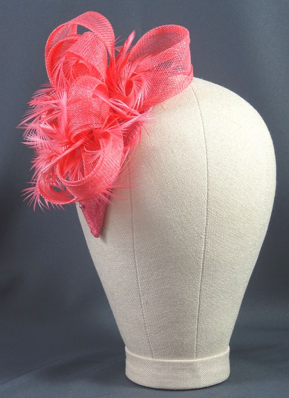Flamingo pink fascinator for weddings and special occasions  13aa15e1ed1