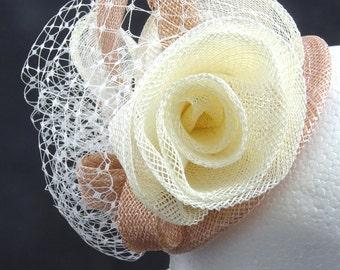 Ivory fascinator, fascinator hat, Ivory and nude, occasion hat, wedding guest hat, fascinator headband, fascinator comb, custom orders