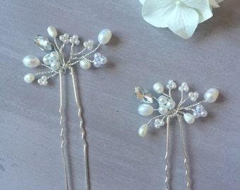 Elena Hair Pins - Two Wedding Hair Pins, bridal hair accessories, pearl, crystal, diamante