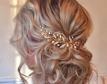 Emily Wedding HairVine Colour options, Bridal Gold and Blush Emily Vine - Free Shipping! Bridal Hair Accessories, Wedding Hairpiece, Vine, T