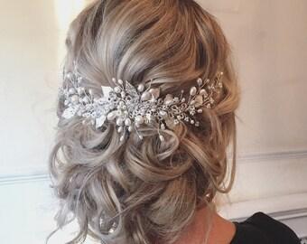 Roseanna Wedding Hairvine -  Bridal Hair Accessories, Tiara, Circlet, Silver, Pearl and Crystal, boho, vintage, fairytale