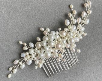 Cariad Pearl Comb, Wedding Hair Accessories, bridal hairpiece, pearl hair piece, Hairvine, Tiara