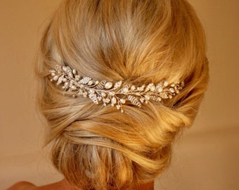 Emily Hair vine, Bridal Hair Accessory, Wedding Hairvine, Hairpiece, Tiara, Crown, Headdress, Pearl, Crystal, Adornment, Vintage, Headpiece
