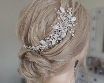 Silver Willow Vine- Bridal Hair Accessory, Pearl wedding hairvine-wedding hair accessory, winter Wedding, vine, vintage, hairpiece, tiara