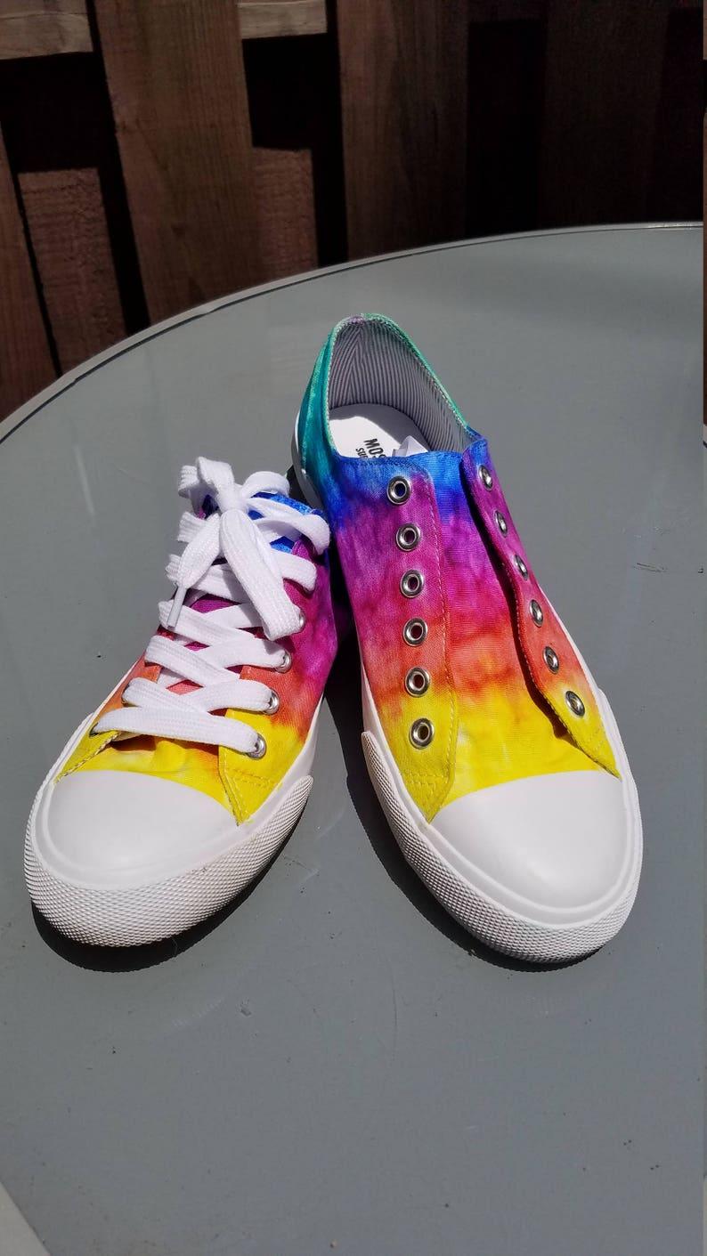 Scarpe da tennis Rainbow Tie-Dye fatte a mano zTTYz01M