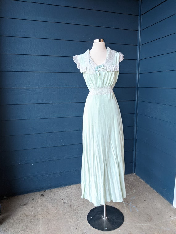 Vintage 1940s Mint Green Lace Nightgown