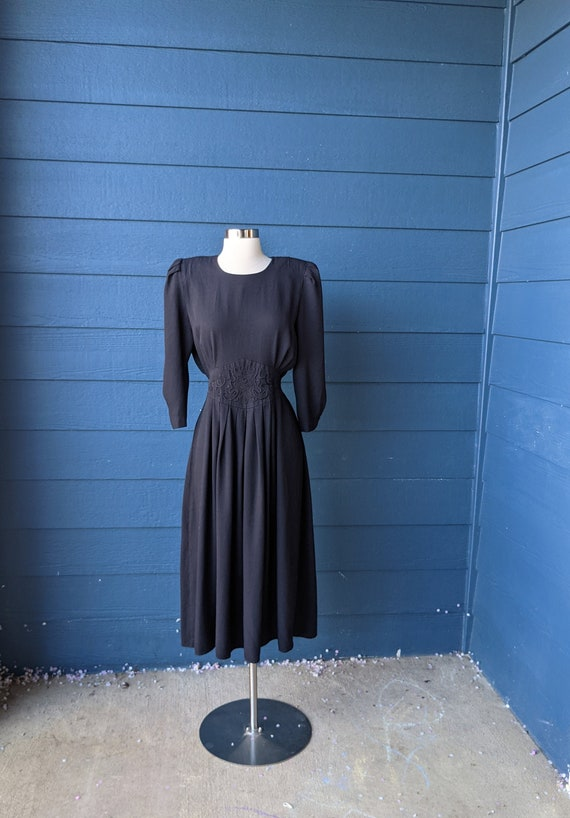 Vintage 1980s Does 40s Soutache Dress