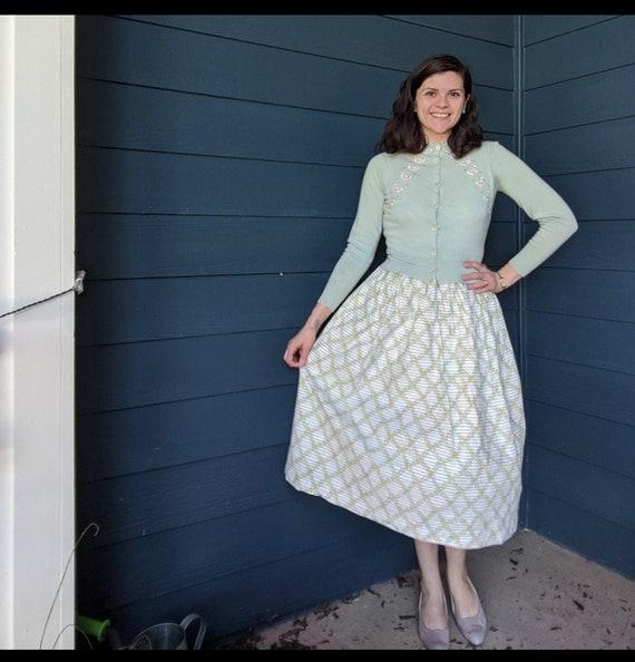 Vintage 1950s Windowpane Floral Novelty Skirt