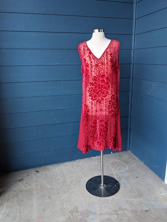 Vintage 1920s Devoré Velvet Flapper Dress