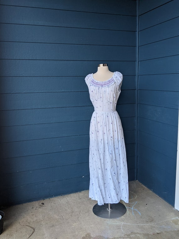 """Vintage 1950s """"Moongleam"""" Floral Nightgown"""