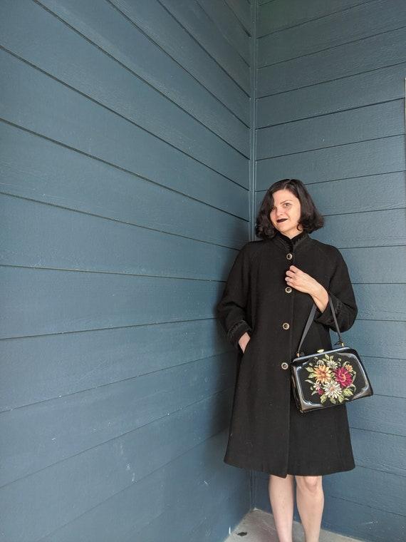 Vintage Velvet Trim Coat