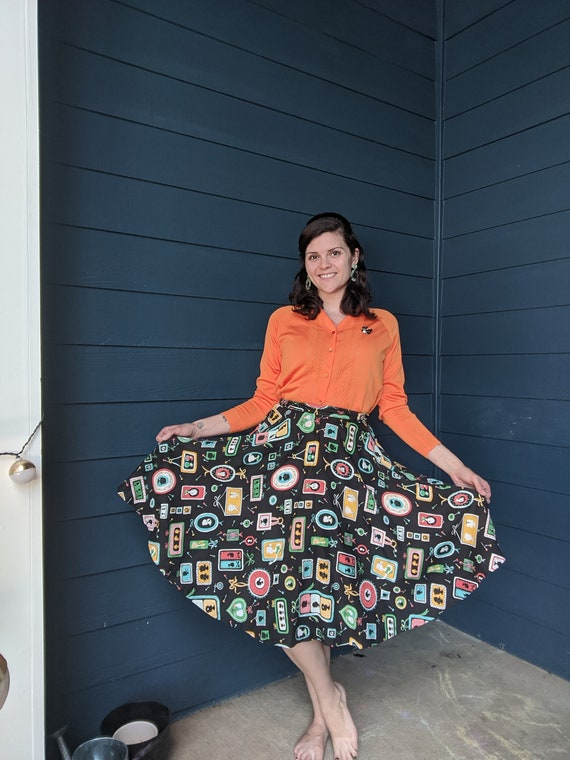 Vintage 1950s Novelty Print Skirt