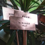 Plant Markers, Herb Markers, Vegetable Plant Stakes, Garden Tags, Herb Sign, Copper Garden Markers, Garden Stake, Hand Forged, Farmhouse