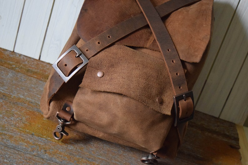 14.5 x 11 x 5 Handmade Rustic Brown Leather Backpack Ready to Ship
