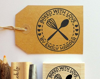 Personalized Baking and Cooking Rubber Stamp, Baked with Love Stamp with Whisk and Spoon