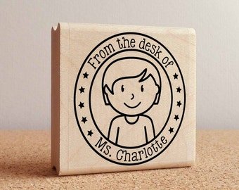 Personalized Teacher Rubber Stamp, Custom Teacher Stamp - Choose Hairstyle and Accessories