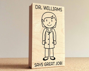 Personalized Female Teacher, Professor or Doctor Rubber Stamp- Choose Text, Hairstyle and Clothing