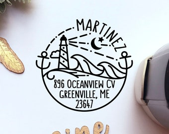 Self Inking Return Address Stamp, Round Self Inking Return Address Stamp with Beach and Lighthouse