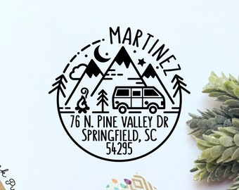 Self Inking Return Address Stamp with Camper Van and Mountains, Outdoors Round Self Inking Return Address Stamp