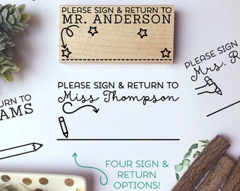 Personalized Sign and Return Stamp, Sign and Return Teacher Stamp, Teacher Gifts