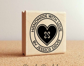 Personalized Sewing Rubber Stamp Handmade With Love Heart Button Custom