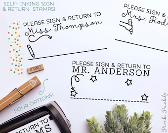 Self Inking Teacher Stamp, Sign and Return Teacher Stamps Self Inking, Teacher Stamps Personalized