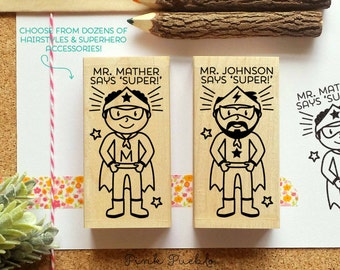 Superhero Teacher Rubber Stamp, Teacher Gift, Personalized Teacher Stamp - Choose Hairstyle and Accessories