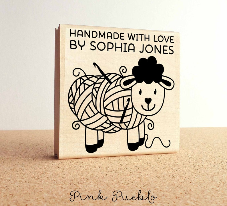 Handmade with Love Crochet Label Stamp Large 3x3 Personalized Crochet Rubber Stamp