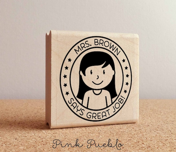 Personalized Female Teacher Rubber Stamp, Custom Teacher Stamp, Personalized Teacher Gift   Choose Hairstyle And Accessories by Etsy