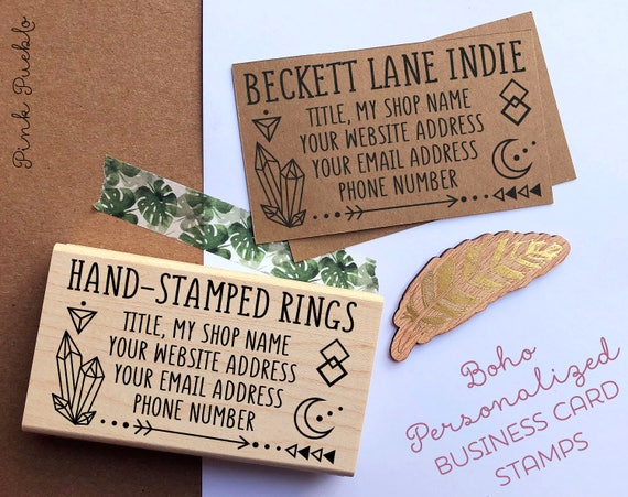 personalized business boho card stamp custom geometric etsy