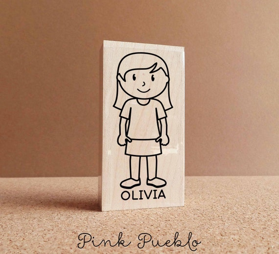 Custom Kids Stamp Choose Hairstyle and Accessories Personalized Thank You Rubber Stamp for Boys