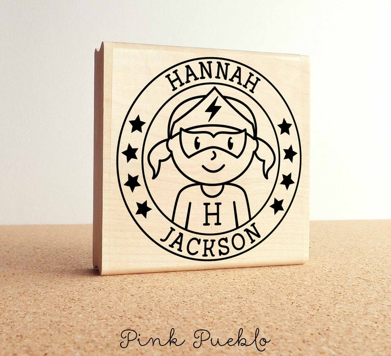 Large Personalized Superhero Girl Rubber Stamp Choose Name Etsy