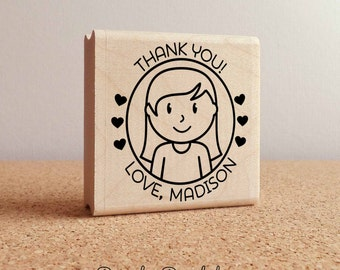 Personalized Thank You Stamp, Custom Kids Rubber Stamp - Choose Hairstyle and Accessories