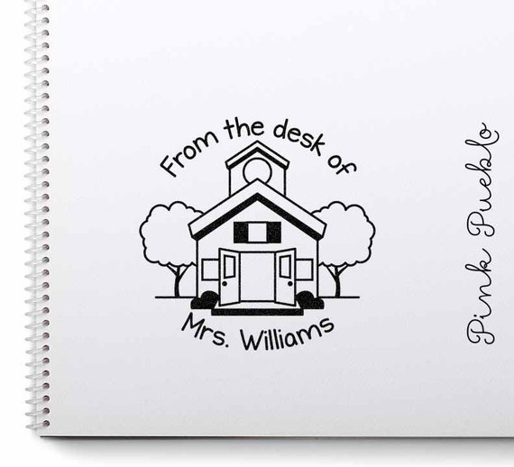 Large Personalized Teacher Schoolhouse Rubber Stamp Custom Teacher Appreciation Gift Stamp