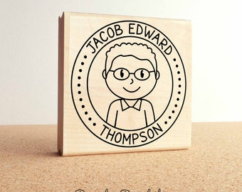 Large Personalized Boy Rubber Stamp, Custom Childrens Name Rubber Stamp - Choose Hairstyle and Accessories