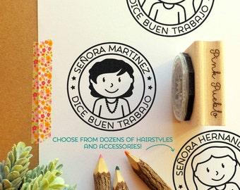 Spanish Teacher Stamp, Personalized Teacher Rubber Stamp, Spanish Teacher Gift - Choose Hairstyle and Accessories