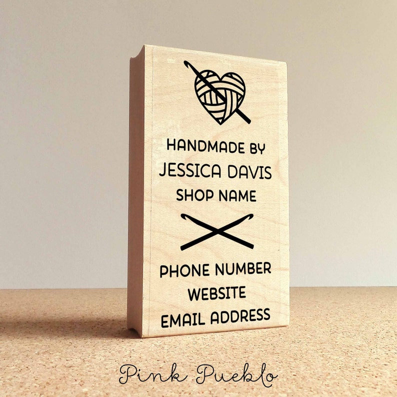 Personalized Crochet Business Card Stamp Handmade By Business Etsy