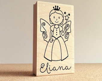 Fairy Personalized Rubber Stamp for Children, Fairy Custom Stamp - Choose Hairstyle and Accessories