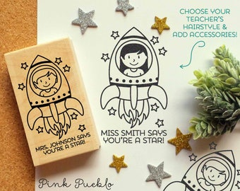 Personalized Teacher Stamp, Outer Space Themed Teacher Rubber Stamp - Choose Hairstyle and Accessories