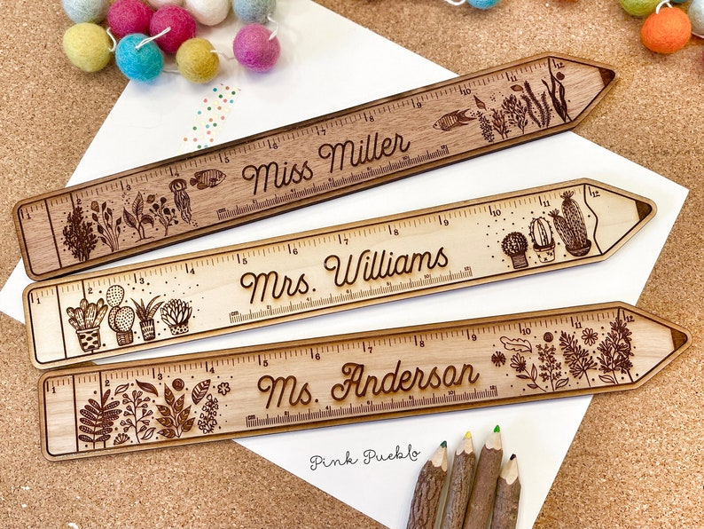 Personalized Engraved Wooden Teacher Ruler with Grading Scale image 0