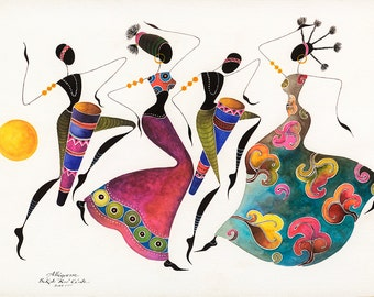 "Greeting Card ALLEGRESSE  African Dancers in a SET OF 5    5""X7"" (12,5 cm X 18 cm) Blank African Greeting Cards from the ""Bikutsi"" series"