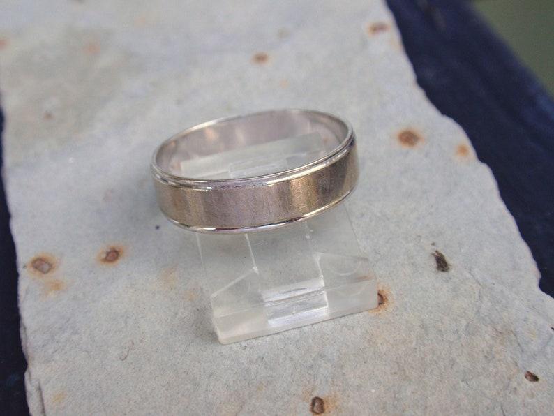 Wedding Band Mans Classic White Gold Brushed Designs Mid Century Plain Simple Rustic Minimalist 10k