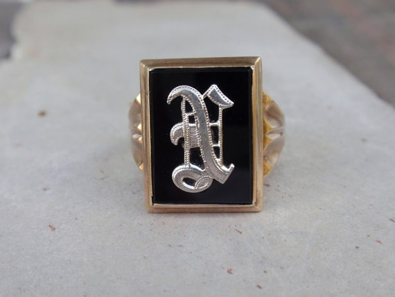 Vintage Old English N Letter Insignia Metal Silver Cuff Links