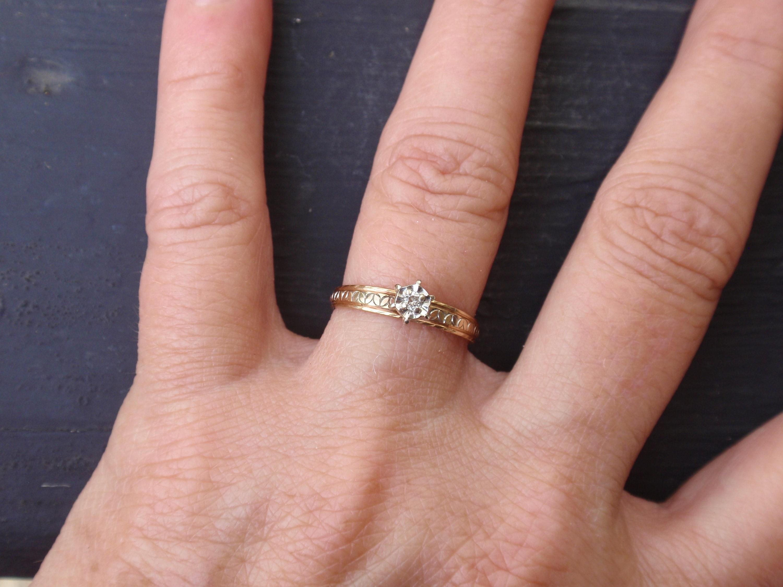 Vintage Engagement Ring Diamond Womens 14k Ladies Wedding Band | Etsy