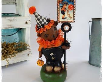 SALE, 2017, Paper Clay, folk art, Halloween, BEAR, in faux, vintage postcard, and tiny, pumpkin, handmade  by, Michelle Allen