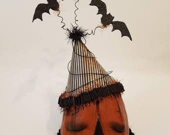 SALE, folk art, paper clay, Halloween, unique, pumpkin, head, black glitter, bats, handmade,  by,  Michelle Allen