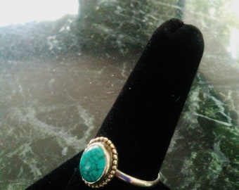 Vintage Southwest Turquoise & Sterling Silver Ring Approx Sz 8 1/4