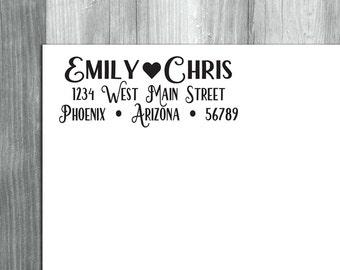 Custom Return Address Stamp, Return Address Stamp, Self Inking Stamp, Rubber Stamp, Wedding Stamp, Heart Address Stamp, Save the Date Stamp
