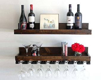 Rustic Wood Wine Rack Wall Mounted Shelf and Hanging Stemware Glass Holders (Beveled) Floating Bar Shelves & Organizer